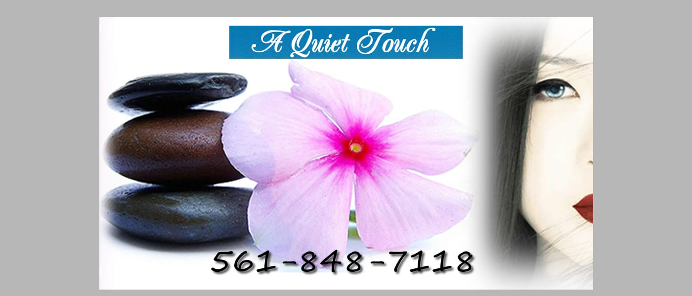 An image of stacked rocks a flower and part of a woman's face in a collage with phone number and Jupiter Wellness Massage - A Quiet Touch logo.